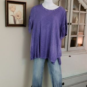 Lane Bryant Purple Heather Top w/ruffle sleeve